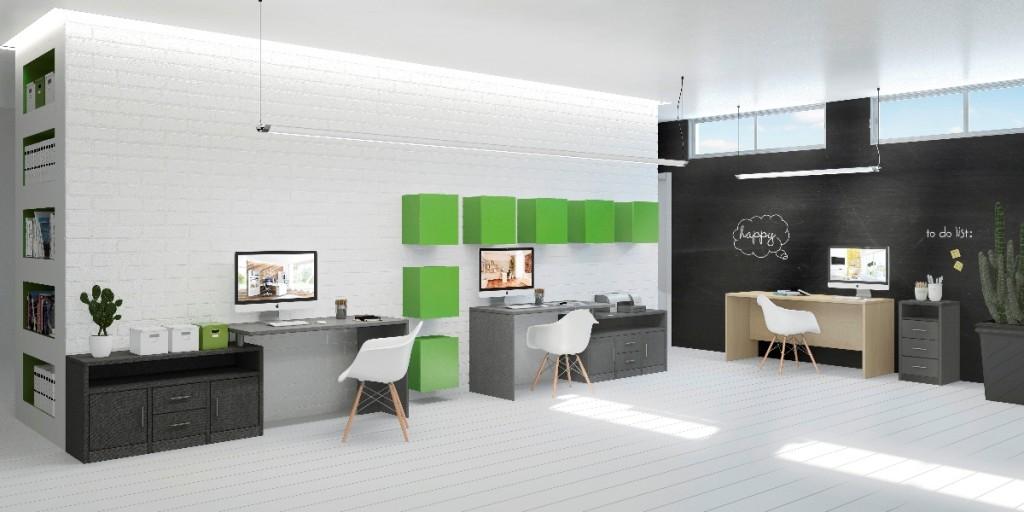 חדר עבודה עם נגיעות ירוקות, רהיטי דורון